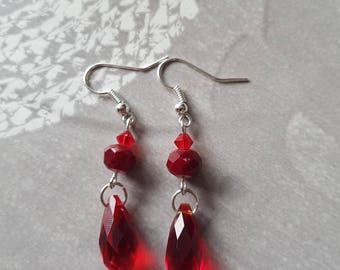 earring whole red crystal