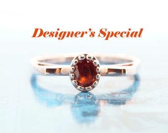 Orange Sapphire 14K Rose Gold Engagement Ring