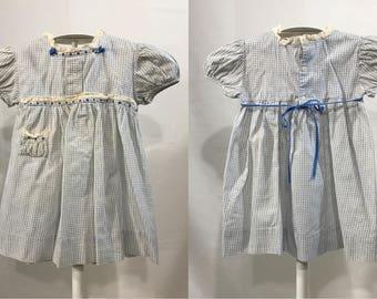 1950's | Vintage Baby Girls Dress | blue & white