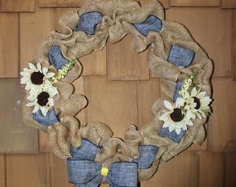 Daisy Blue Burlap Wreath