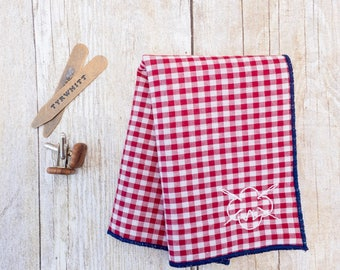 Red Pocket Square. Gingham Pocket Square. Cotton. Gift for Dad. Fathers Gift. Gift for Him. Anniversary Gift. Wedding Gift. Gift for Groom.