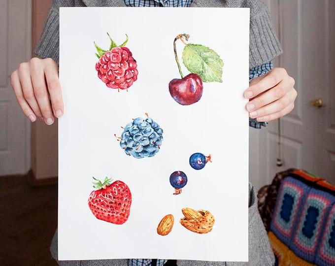 Berries Painting Original Watercolor Fruit Strawberry Art Original Fruit Watercolor Art Berries Art Watercolor Painting Cherry Art
