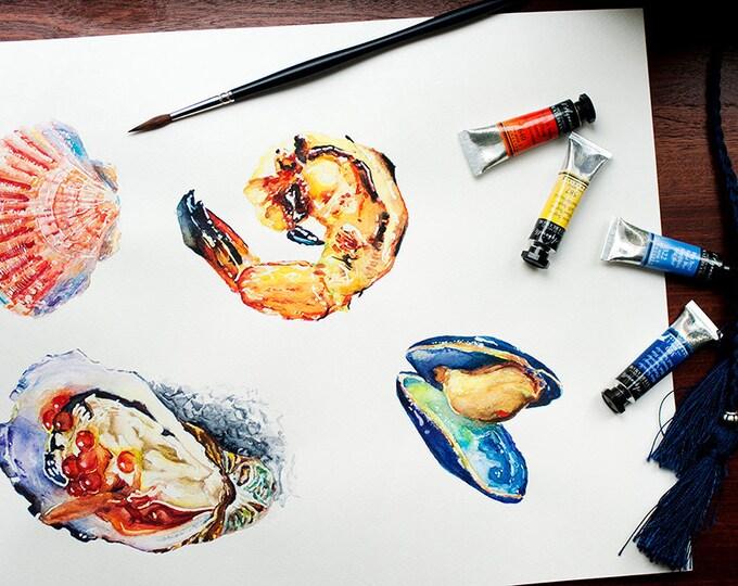Sea foods Painting ORIGINAL, Watercolor sea foods art, Shrimp Painting, Scallop Shell, Mussel, Oyster Painting Sea foods watercolor, Seafood