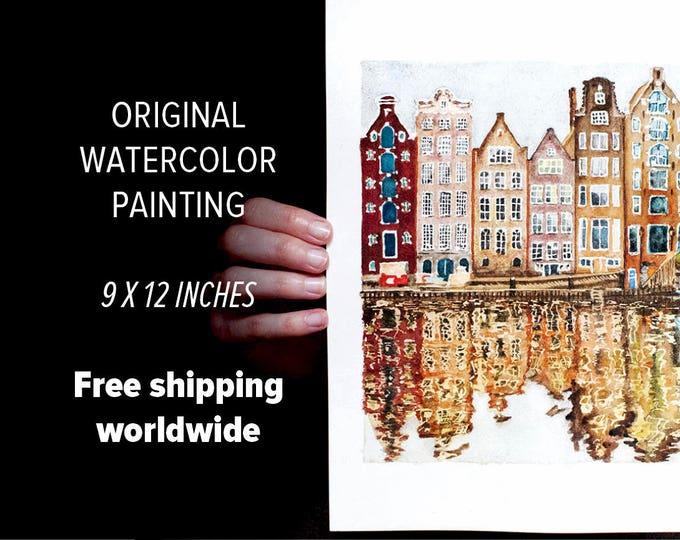 Amsterdam Watercolor Painting ORIGINAL Watercolor Amsterdam Painting, Netherlands Painting Amsterdam Art, Holland Watercolor Netherlands Art