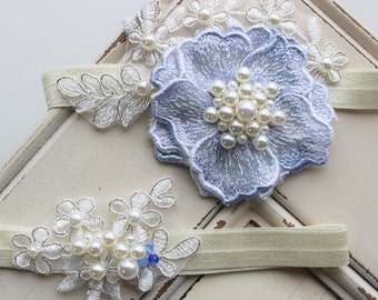 Something Blue Garter ,Bridal Garter , Wedding Garter, Lace garter , Vintage style Garter,  Flower Garter , Stretch Lace Garter Set