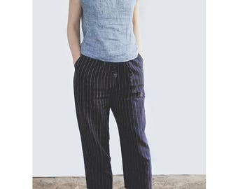 comfortable linen pants, cropped womens capri made of 100% pure flax, wide leg trousers
