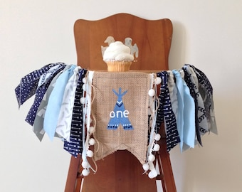 Wild One First Birthday High Chair Banner/Blue TeePee Arrows Feather/Cake Smash Photo Shoot Prop/Party Decor Wall Hanging/Fabric Banner