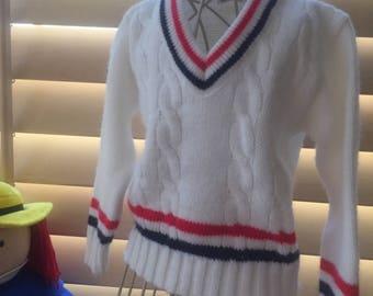 Vintage 1970 Toddler Preppy  Tennis Sweater