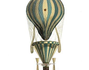 Vintage Hot Air Balloon, Children's Wall Art, Clipart