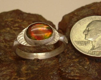 Ammolite Ring Sterling Silver OOAK Boho Dragon Eye Statement Ring Size 10 Silver Statement Jewelry Red Orange Green Fire   103G
