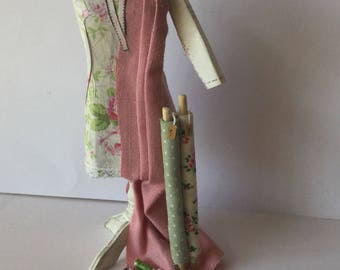 Dollhouse miniature 1:12 scale shabby chic covered Dressmakers Mannequinn with Dress in progress