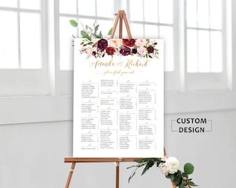 Wedding Seating Chart, Wedding Seating Chart Alphabetical, Wedding Seating Chart Template, Burgundy Wedding Seating Chart, , RUSH SERVICE