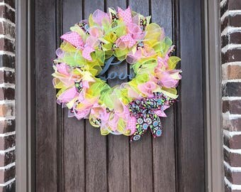 Cotton Candy Love Wreath by Miss Mazie