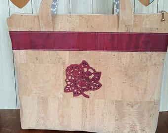 Red and natural cork bag