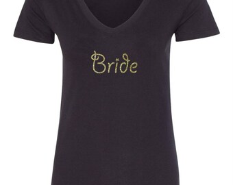 Bride Glitter T-shirt Gold Glitter Bride design