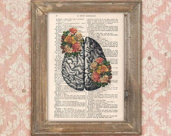 Anatomy Brain Flower Anatomy Print Roses  Human Anatomy science wall decor art print drawing Vintage Book Dictionary Gothic Get well soon