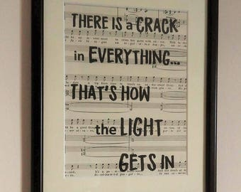 Leonard Cohen Quote   Sheet Music Print   Cohen Lyric Print