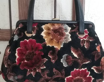 Tapestry  Carpetbag Purse -  1960's JR Handbags