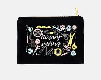 Sewing Cosmetic Bag, Gifts for Sewers, Gifts for Seamstress, Sewing Gifts, Cosmetic Travel Bag, Sewer Makeup Bag, Black Makeup Bag, 9.5 x 7