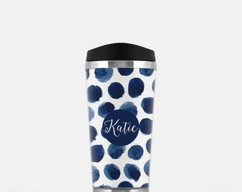 Watercolor Travel Mug, Personalized Travel Coffee Mug, Watercolor Mug, Monogram Coffee Mug, Stainless Steel Mug, Navy Travel Mug, 16 oz