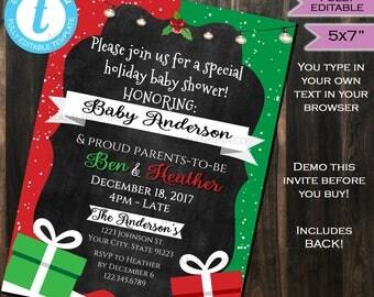 Christmas Baby Shower Invite - Present Gift Snow Winter - Baby Girl Baby Boy Chalkboard Template Custom Printable INSTANT Self EDITABLE 5x7
