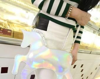 Holographic Unicorn Crossbody Bag Rainbow Purse Raver Bag Rave Unicorn Purse Rainbows Coin Purse Holo Purse Aesthetic Fashion