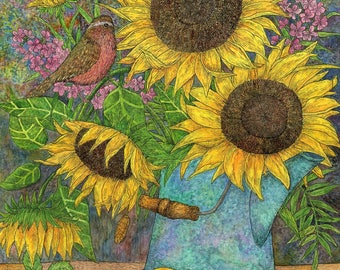 Bouquet of sunflowers August evening. The big picture watercolor, flower watercolor, flower girl gift, flowers, original watercolor painting