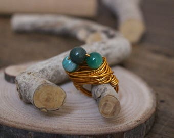 Aluminium ring with wire technique with 8 mm moss agate