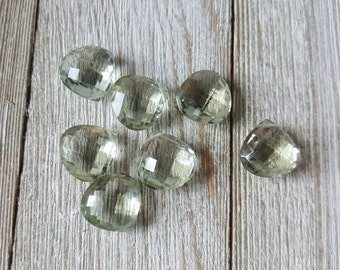 Large Pale Green Amethyst Faceted Heart Briolette Beads 14mm