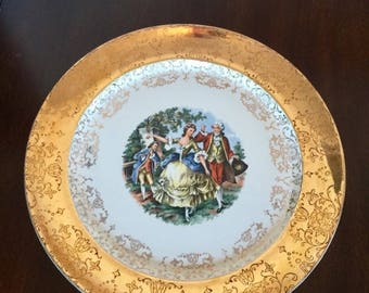 Sabin 22K Crest O Gold Painted Plate, Vintage Gold Rimmed Plate, Collectible Antique China, Vintage Home Decor, Painted Decorative Plate