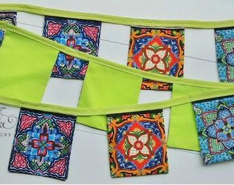 Fabric Fiesta Banner, Talavera Tile Banner, Talavera Fabric Banner, Party Banner, Fiesta Party Decorations, Festive Banner, Festive Bunting