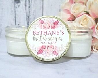 Blush Bridal Shower Candle  Favors - PINK Bridal Shower - Wedding Candle Favors - Personalized Bridal shower  Favor - Baptism Candle Favors