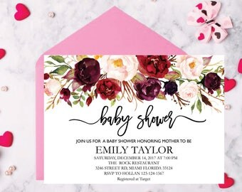 Floral Baby Shower Invitation, It's a Girl Shower Invite, Bridal Shower Card, Floral Baby Shower, Boho Girl Baby Invite, Instant Download B4
