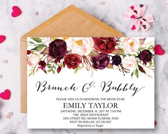 Brunch and Bubbly, Floral Bridal Shower Invitation, Bridal Brunch, Instant Download, Flower Bridal Card, Boho Bridal Brunch, Printable  BB03