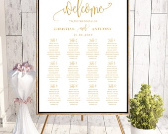 Wedding Seating Chart Template, Wedding seating chart, seating chart poster, Wedding table seating assignment, gold seating chart, #120