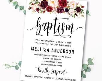 Baptism invitation, Printable baptism invites, baptism party, Baptism invite, Boy baptism, girl baptism, invitation template, editable, #4