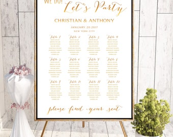 Wedding Seating Chart, Wedding seating template, Navy seating chart, Seating chart, seating chart poster, Gold seating chart alphabet, #126