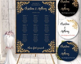 PRINTABLE Wedding Seating Chart, Wedding Seating Chart, Wedding seating template, Navy seating chart, Seating chart, Find Your Seat #N135