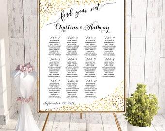 Navy wedding seating chart, Wedding seating chart poster, Wedding Seating Chart, Gold wedding seating chart, Seating chart template, SC151