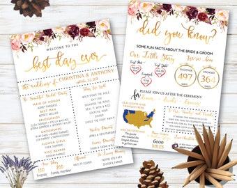 Infographic Wedding Program, Fun Wedding Program, Printable Wedding Program, Boho Wedding Programs, Digital Download, Weddings 01
