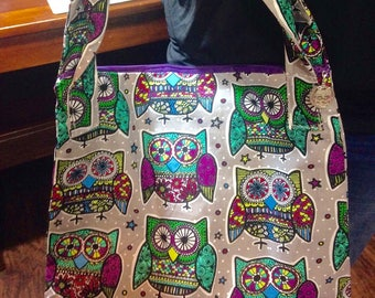 Handmade Owl Zipper Purse with Owl Charm