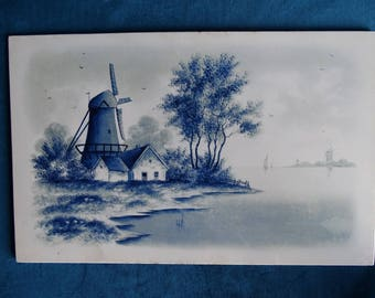 Delft Blue Plaque, of polder landscape with mill