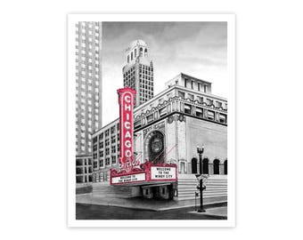 Chicago Theater Illustrated Print