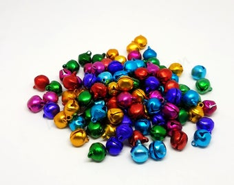 8 mm Bells, Small Bells That Jingle, Mini Bells, Multi-Color Bells, Tiny Bells, Bell Beads, Bells for Christmas, Bells for the Holidays