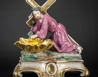 "Jesus Carrying the Cross Statue | Christ Holy Water Font | Antique Vieux / Old Paris Porcelain Figure | 11"" Large"