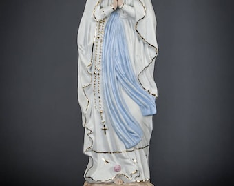 "15.2"" Large French Antique Our Lady of Lourdes Porcelain Figurine early 1900s Immaculate Conception of Mary Hand Painted Statue 1"