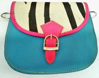 Alyssa: Upcycled High Quality Hand-made Leather Colourful Shoulder Bag with Animal Print
