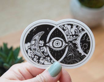 Vesica Picis Art Sticker - Hand Drawn - Vinyl Stickers, black and white, energy, ancient symbol, crystal grid, boho, tarot, elements, magic