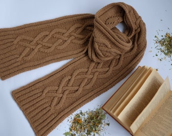 Beige men's knitted scarf, men's Scarf, knitted scarf for men,Wool Scarf, Knit Scarf, Men's Accessories,Perfect Gift  for him, Aran scarf