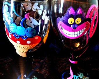 Cheshire Cat and Catepillar, wine glasses, Alice in Wonderland, fantasy, hookah, drink me, were all mad here, who r you, original Alice in
